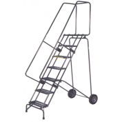 """Ballymore SSFAWL-8G 8 Step 16""""W Stainless Steel Fold and Store Rolling Ladder, Serrated Grating"""