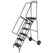 "Ballymore SSFAWL-6G 6 Step 16""W Stainless Steel Fold and Store Rolling Ladder, Serrated Grating"