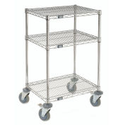 "Chrome Wire Shelf Mobile Printer Stand, 3-Shelf, 24""W x 18""D x 39""H"
