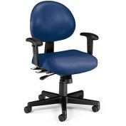 "OFM Continuous-Use Seating - Chair with Arms - 18-22"" Seat Height - Navy vinyl"