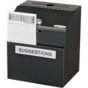 """Suggestion Box, Steel, Black, 7""""W x 6""""D x 8-1/2""""H"""