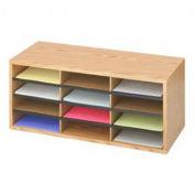 """SAFCO Wood Literature Organizer - 29x12x12"""" - 12 Compartments"""