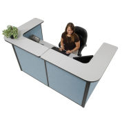 """88"""" W x 44""""D x 44""""H U-Shaped Reception Station, Gray counter/Blue Panel"""