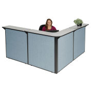 "80""W x 80""D x 44""H L-Shaped Reception Station, Gray Counter/Blue Panel"
