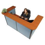 "88"" W x 44""D x 44""H U-Shaped Reception Station, Cherry Counter/Blue Panel"