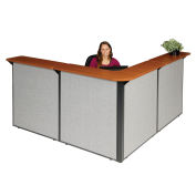 "80""W x 80""D x 44""H L-Shaped Reception Station, Cherry Counter/Gray Panel"