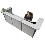 "124""W x 44""D x 44""H U-Shaped Reception Station, Gray Counter/Gray Panel"