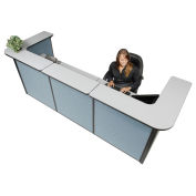 "124""W x 44""D x 44""H U-Shaped Reception Station, Gray counter/Blue Panel"