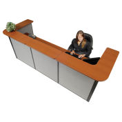 "124""W x 44""D x 44""H U-Shaped Reception Station, Cherry counter/Gray panel"
