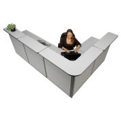 """116""""W x 80""""D x 44""""H L-Shaped Reception Station, Gray Counter/Gray Panel"""