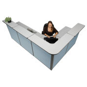 """116""""W x 80""""D x 44""""H L-Shaped Reception Station, Gray Counter/Blue Panel"""