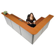 """116""""W x 80""""D x 44""""H L-Shaped Reception Station, Cherry Counter/Gray Panel"""