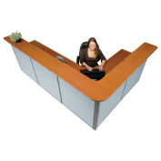 """116""""W x 80""""D x 44""""H L-Shaped Reception Station, Cherry Counter/Blue Panel"""