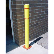 "Bollard Cover, 4""x 64"", Yellow Cover with Red Tapes"
