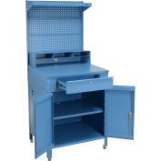 "Shop Desk w/Lower Cabinet, Pigeonhole Compartment w/Pegboard Riser, 34-1/2""W x 30""D x 80""H, Blue"