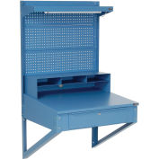 """Shop Desk Wall Mount with Pegboard Riser, 34-1/2""""W x 30""""D x 61""""H, Blue"""