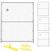 Chain Link Fence, Powder Coat Finish, 4 Panel Kit, 5'Wx6'H