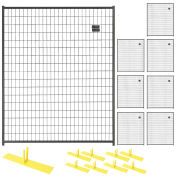 8 Panel Temporary Security Fence Kit, Black Welded Wire