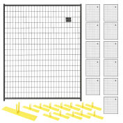 12 Panel Temporary Security Fence Kit, Black Welded Wire