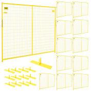 Perimeter Patrol 12 Panel Temporary Security Fence Kit, Yellow