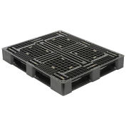 48x40 Rackable Plastic Pallet, Black, HDPE, 4000 Lbs Fork Capacity