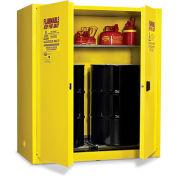 "EAGLE Vertical Drum Cabinet For Flammable Hazardous Waste - 58x31x65"" - 2 Drums - Self-Close Doors"