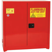 """EAGLE Wall Or Floor-Mount Flammable Liquids Safety Cabinet - 43x12x44"""" -Manual Doors -Red"""