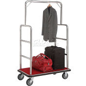 "Silver Stainless Steel Bellman Cart, Straight Uprights, 6"" Rubber Casters, 41-1/4""L x 24""W x 73""H"