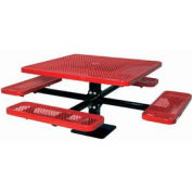 """Single Pedestal 46"""" Square Table, Surface Mount, Expanded Metal 78""""W x 78""""D, Red"""