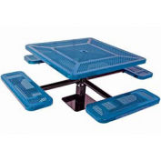 """Single Pedestal 46"""" Square Table, Surface Mount, Perforated 78""""W x 78""""D, Blue"""