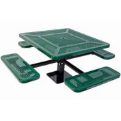 "Single Pedestal 46"" Square Table, Surface Mount, Perforated 78""W x 78""D, Green"