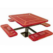 """Single Pedestal 46"""" Square Table, Surface Mount, Perforated 78""""W x 78""""D, Red"""