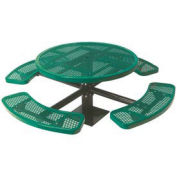 """Single Pedestal 46"""" Round Table, Surface Mount, Expanded Metal 82""""W x 82""""D, Green"""