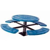 """Single Pedestal 46"""" Round Table, Surface Mount, Perforated 82""""W x 82""""D, Blue"""