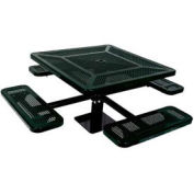 """Single Pedestal 46"""" Square Table, Surface Mount, Perforated 78""""W x 78""""D, Black"""