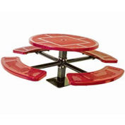 """Single Pedestal 46"""" Round Table, Surface Mount, Perforated 82""""W x 82""""D, Red"""
