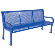 4' Lexington Bench, Perforated, Blue