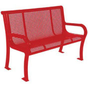 4' Lexington Bench, Perforated, Red