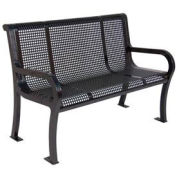 4' Lexington Bench, Perforated, Black