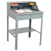 "Open Steel Receiving Desk, 32-1/2""W x 30""D x 50""H, Gray"