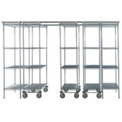 5 Unit SPACE TRAC Storage Shelving, 12 Ft. Long, Poly-Z-Brite, 48x21x74