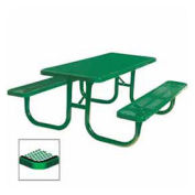 "8' Extra Heavy Duty Picnic Table, Diamond, 96""W x 70""D, Green"