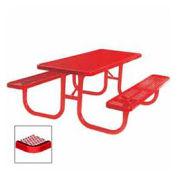 "8' Extra Heavy Duty Picnic Table, Diamond, 96""W x 70""D, Red"