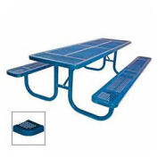 "8' Extra Heavy Duty Picnic Table, Perforated, 96""W x 70""D, Blue"