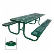 """8' Extra Heavy Duty Picnic Table, Perforated, 96""""W x 70""""D, Green"""