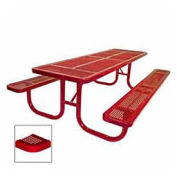 "8' Extra Heavy Duty Picnic Table, Perforated, 96""W x 70""D, Red"