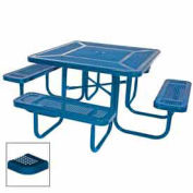 """46"""" Square Table, Perforated, Coated Steel, 78""""W x 78""""D, Blue"""