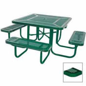 """46"""" Square Table, Perforated, Coated Steel, 78""""W x 78""""D, Green"""
