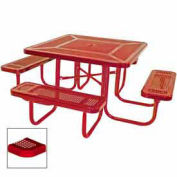 """46"""" Square Table, Perforated, Coated Steel, 78""""W x 78""""D, Red"""