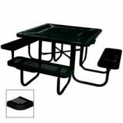 """46"""" Square Table, Perforated, Coated Steel, 78""""W x 78""""D, Black"""